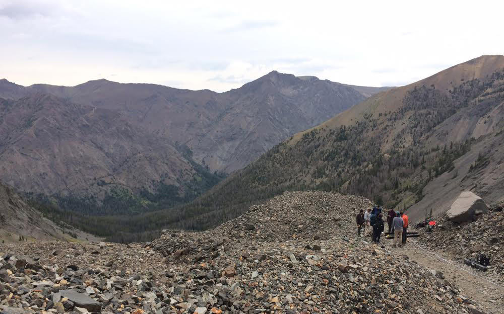 Students prepare a survey on an outcropping in Wyoming