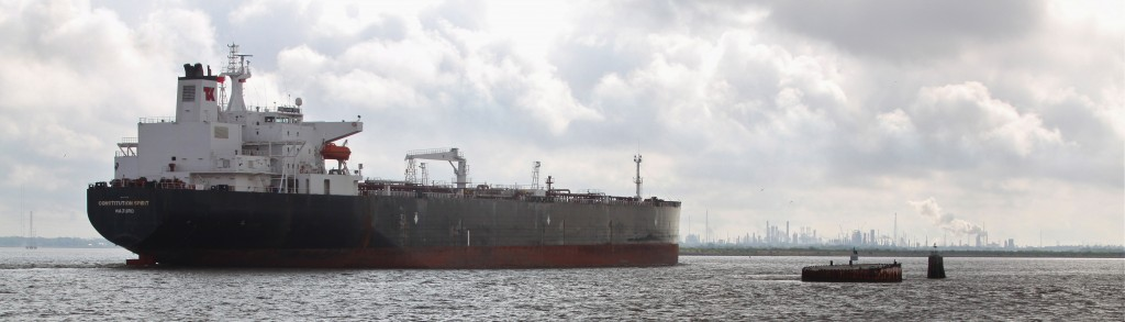 An oil tanker in Galveston Bay. (Photo courtesy Roy Luck via Creative Commons Licensing)