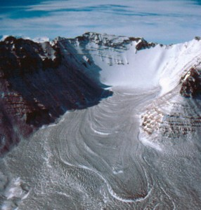 Helicopter View of Antarctica's Mullins Valley