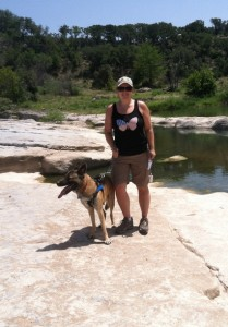 Belinda Jacobs and her dog at Pedernales Falls