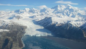 Aerial view of Yahtse glacier