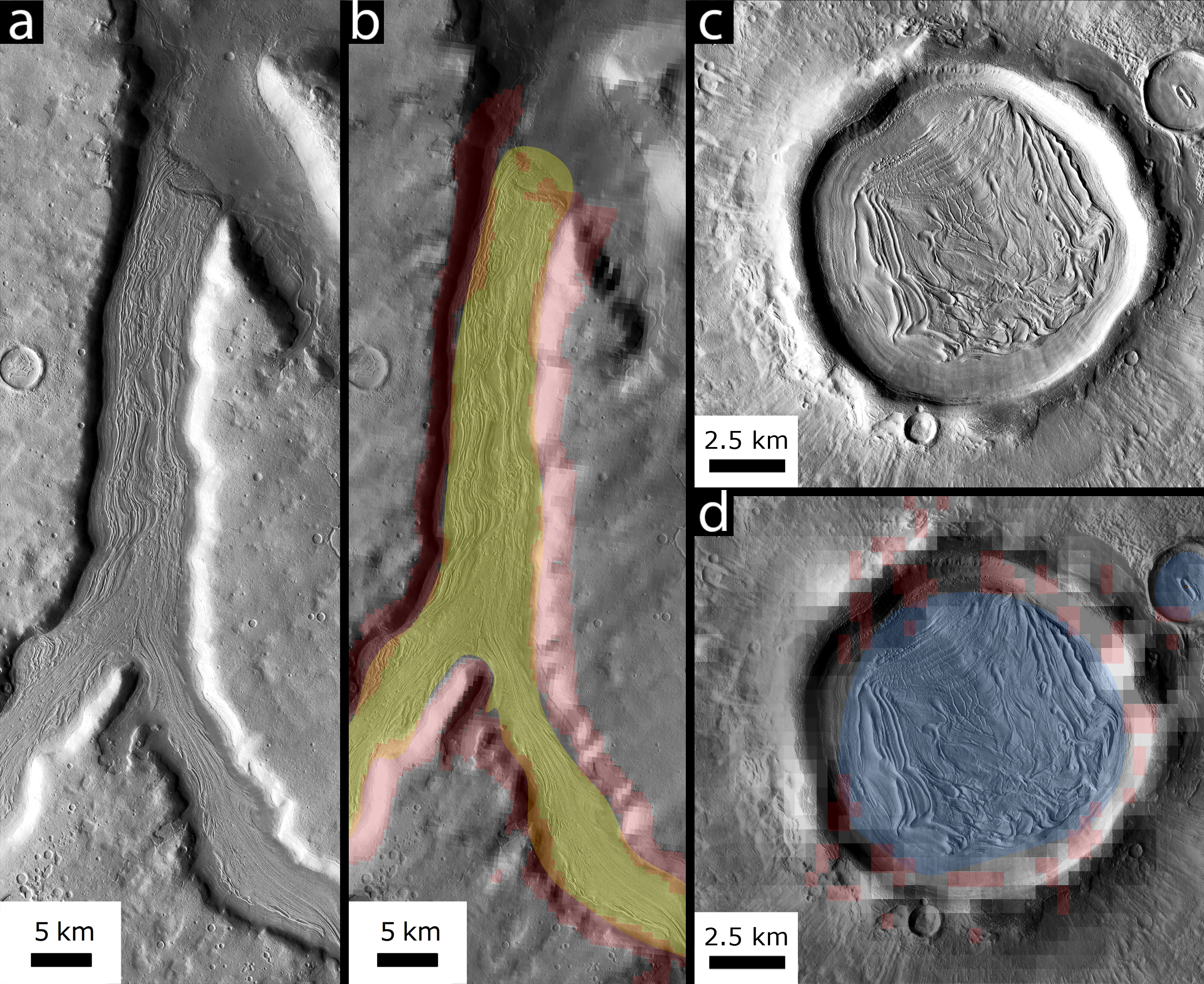 Diagrams showing the erodable area on Mars.