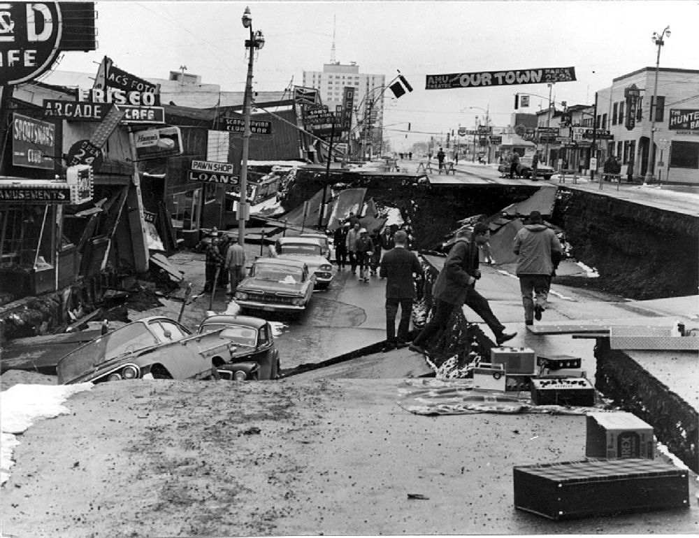 Fourth Avenue in Anchorage after a major earthquake on March 27, 1964