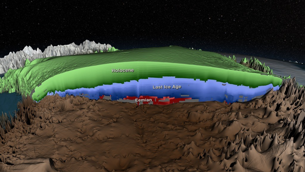 Visualization of the layers inside the Greenland Ice Sheet