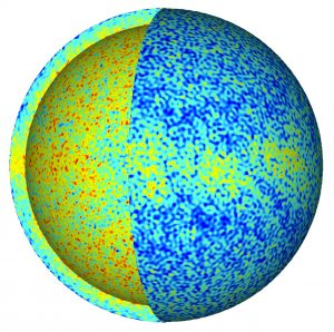 Three-dimensional cut-out of the temperature field in a Europa-like global ocean convection model. Red and blue indicate warm and cold temperatures, respectively. Credit: Krista Soderlund.