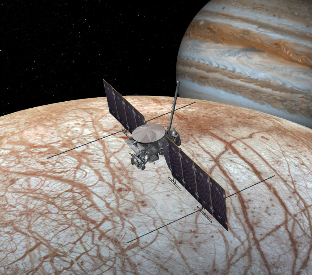 NASA's Europa Clipper mission is being designed to investigate whether this icy Jovian moon possesses the ingredients necessary for life. Credit: NASA/JPL-Caltech/SETI Institute.