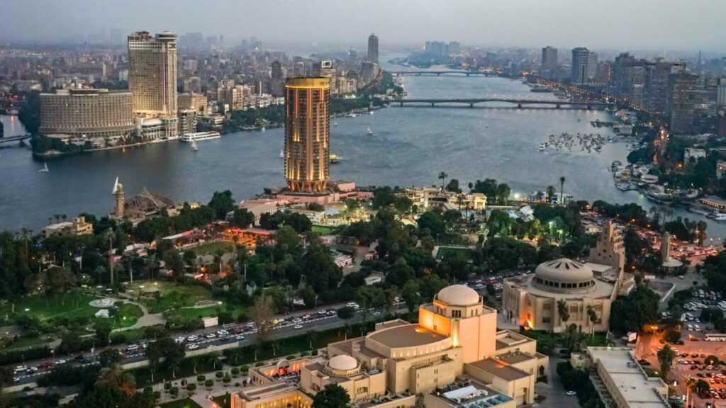 The river Nile flows through modern Cairo