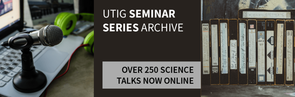 Microphone, laptop, and VHS tapes overlaid with text reading UTIG Seminar Series Archive: Over 250 Science Talks Now Online