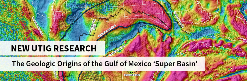 Gravity map overlaid by text reading New UTIG Research: The Geologic Origins of the Gulf of Mexico 'Super Basin'