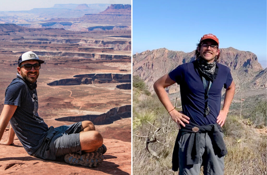Brandon Shuck sitting in front of rock canyon; Ethan Conrad standing in front of a mountain