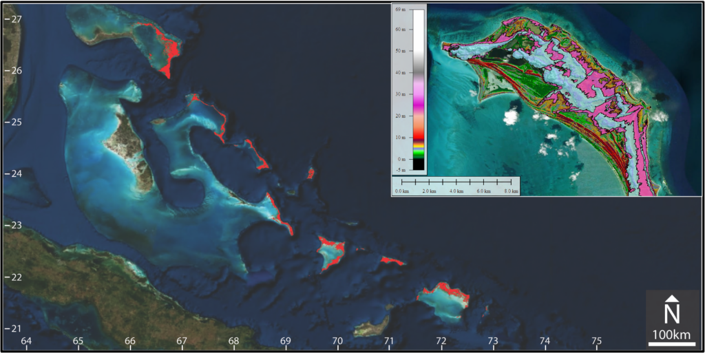 Map of the Bahamas with geological features