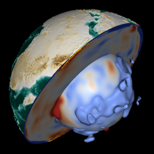 Cutaway of the Earth with arrows indicating northward moving mantle convection along the path of the Nile (from Ethiopia to Egypt).