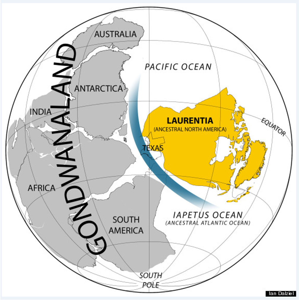 A globe map showing the supercontinent Gondwanaland filling the western hemisphere with the smaller supercontinent Laurentia filling about a third of the western hemisphere. A blue line indicating a sea channel separates them.