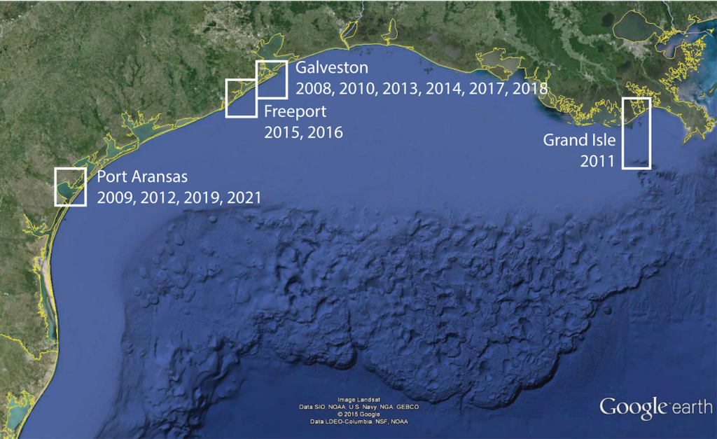 Map of the northern Gulf of Mexico