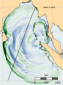 Map of the north Indian Ocean with concentric colored bands showing the simulated quake