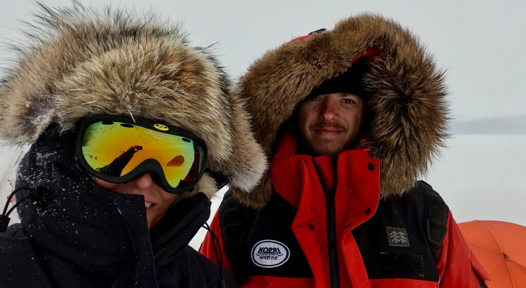 Picture showing scientists taking self portrait in Antarctica